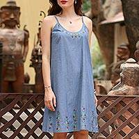 Cotton sundress, 'Spring Harmony' - Blue Cotton Embroidered Floral Casual Sundress from India