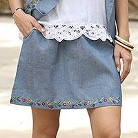 Cotton skirt, 'Spring Feast' - Blue Cotton Floral Embroidered Short Casual Skirt
