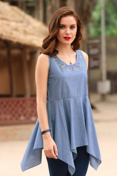 Cotton blouse, 'Floral Adornment' - Blue Cotton Floral Embroidered Peplum Sleeveless Blouse