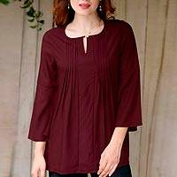 Viscose tunic, 'Whirlwind Romance' - Handmade Red-Brown Viscose Pin Tuck Blouse with Bell Sleeves