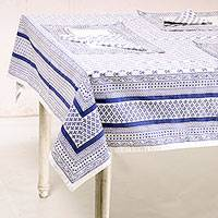 Cotton table linen set, 'Blue Blooms' (set for 6) - Printed Floral Cotton Table Linen Set in Blue (Set for 6)
