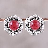 Jasper button earrings, 'Rose of Splendor' - Sterling Silver and Red Jasper Button Earrings from India