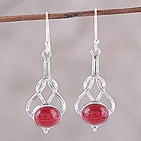 Jasper dangle earrings, 'Gleaming Path' - Red Jasper and Sterling Silver Dangle Earrings from India