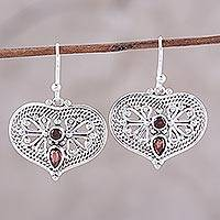 Garnet dangle earrings, 'Bubbling with Love' - Garnet and Sterling Silver Heart Shaped Dangle Earrings