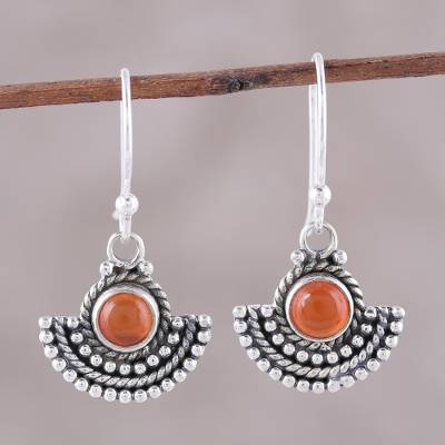 Carnelian dangle earrings, 'Fiery Fans' - Carnelian and Sterling Silver Dangle Earrings from India