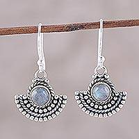 Labradorite dangle earrings, 'Misty Fans' - Labradorite and Sterling Silver Dangle Earrings from India