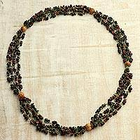Wood torsade necklace, 'Maroon Flowers' - Maroon Haldu Wood Beaded Multi-Strand Torsade Necklace