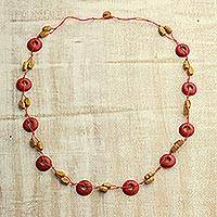 Wood beaded necklace, 'Spherical Color' - Orange and Yellow Haldu Wood Woven Beaded Necklace