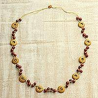 Wood beaded necklace, 'Candy Apple Delight' - Red and Ochre Haldu Wood Hand Knotted Beaded Long Necklace