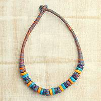 Bone beaded necklace, 'Colorful Harmony' - Colorful Bone Beaded Necklace from India