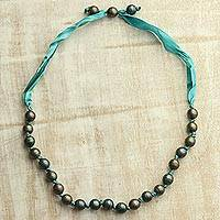 Wood beaded necklace,