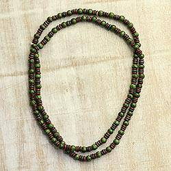 Wood beaded long necklace, 'Spring Seeds' - Green and Brown Haldu Wood Two Layer Beaded Long Necklace