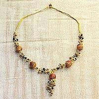 Wood beaded Y necklace, 'Hand-Knotted Glamour' - Yellow and Orange Hand-Knotted Haldu Wood Beaded Necklace