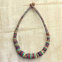 Cotton and bone statement necklace, 'Electric Currents' - Colorful Cotton and Bone Handcrafted Statement Necklace