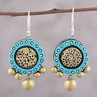 Ceramic dangle earrings, 'Sun Catchers' - Handcrafted Blue and Gold Ceramic Circle Dangle Earrings
