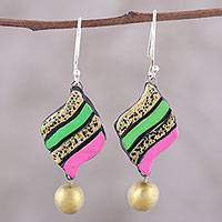 Ceramic dangle earrings, 'Jubilant Pennant' - Handcrafted Pink and Green Ceramic Pennant Dangle Earrings