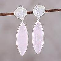 Rose quartz dangle earrings, 'Subtle Serenity' - Rose Quartz and Sterling Silver Marquise-Cut Dangle Earrings
