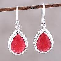 Jade dangle earrings, 'Droplets of Fire' - Red Jade and Sterling Silver Teardrop Dangle Earrings