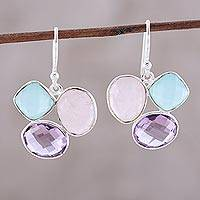 Multi-gemstone dangle earrings, 'Pastel Pizazz' - Faceted Multi-Gemstone and Sterling Silver Dangle Earrings