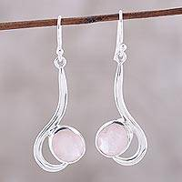 Rose quartz dangle earrings, 'Cool Sabarmati' - Rose Quartz Ovals Set In Sterling Silver Arc Dangle Earrings