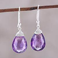 Amethyst dangle earrings, 'Lavender Joy' - Faceted Amethyst Teardrop Sterling Silver Dangle Earrings