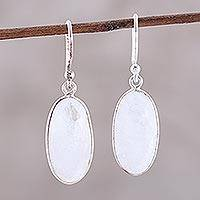 Rainbow moonstone dangle earrings, 'Misty Pools' - Oval Rainbow Moonstone Sterling Silver Dangle Earrings