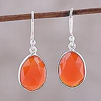Onyx dangle earrings, 'Passionate Flame' - Red-Orange Onyx Dangle Earrings from India