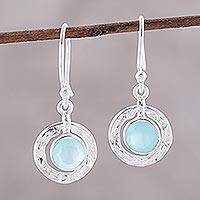 Chalcedony dangle earrings, 'Sky Rings' - Round Aqua Chalcedony and Sterling Silver Dangle Earrings