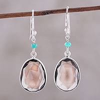 Smoky quartz and onyx dangle earrings, 'Mystic Pools' - Smoky Quartz and Onyx Dangle Earrings from India