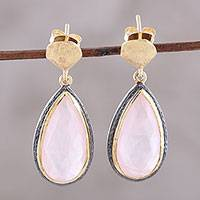 Gold accented rose quartz dangle earrings, 'Rosy Antiquity' - Gold Accented Rose Quartz Dangle Earrings from India