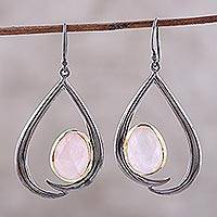 Gold accent rose quartz dangle earrings, 'Endear' - Rose Quartz and Gold Accent Sterling Silver Dangle Earrings