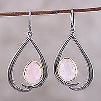 Gold accent rose quartz dangle earrings,