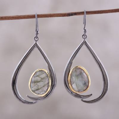 Gold accented labradorite dangle earrings, 'Endear' - Gold Accent Labradorite Dangle Earrings from India