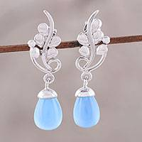 Rhodium plated chalcedony dangle earrings, 'Blissful Vine in Blue' - Sterling Silver Blue Chalcedony Vine Dangle Earrings