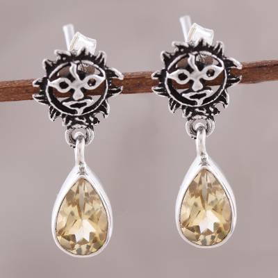 Citrine dangle earrings, 'Rays of Sunshine' - Indian Sterling Silver Yellow Citrine Sunny Dangle Earrings