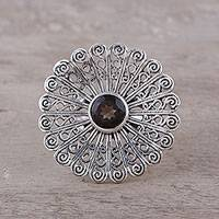 Smoky quartz cocktail ring, 'Beautiful Bloom' - Sterling Silver Smoky Quartz Floral Openwork Cocktail Ring