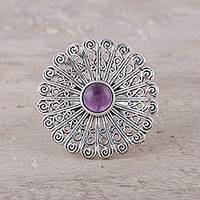 Amethyst cocktail ring, 'Beautiful Bloom' - Sterling Silver Amethyst Openwork Flower Cocktail Ring