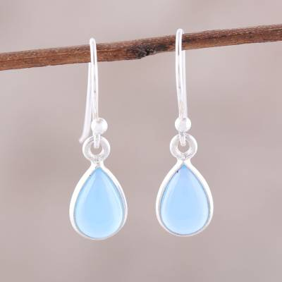 Chalcedony dangle earrings, 'Gentle Tear' - Blue Chalcedony and Sterling Silver Teardrop Dangle Earrings