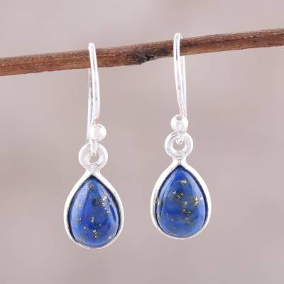 Lapis lazuli dangle earrings, 'Gentle Tear' - Lapis Lazuli and Sterling Silver Teardrop Dangle Earrings