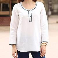 Cotton blend tunic, 'Carefree Ivory' - Linen and Cotton Ivory Tunic with Sequins and Beaded Accents