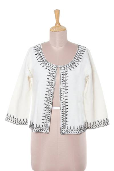 Beaded linen and cotton blend jacket, 'Beaded Ivory Elegance' - Ivory Linen and Cotton Blend Beaded Short Jacket
