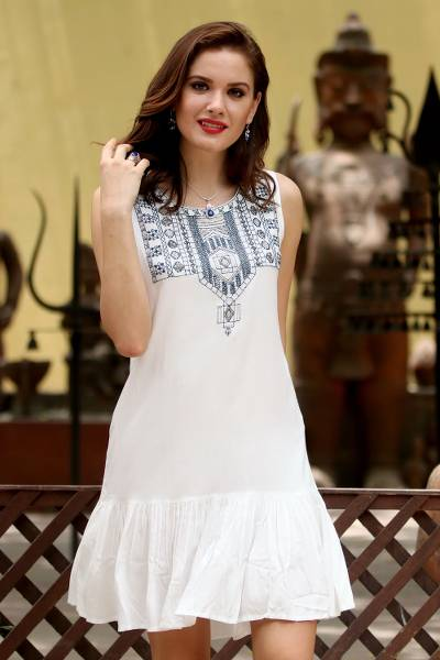Beaded dress, 'Summer Stroll' - White and Navy Beaded Embroidered Sleeveless Dress