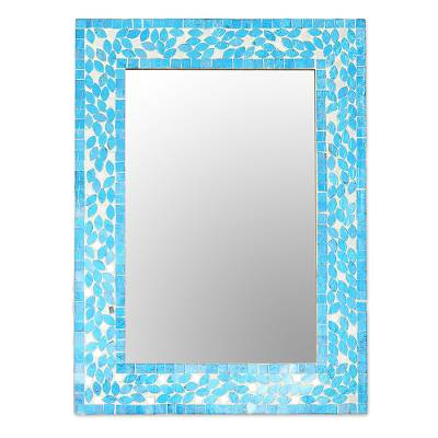 Glass Mosaic Wall Mirror in Blue from India