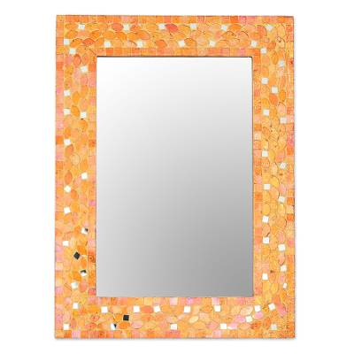 Glass Mosaic Wall Mirror in Orange from India