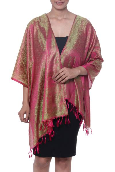 Silk scarf, 'Paisley Delicacy in Carmine' - Paisley Motif Silk Wrap Scarf in Carmine from India