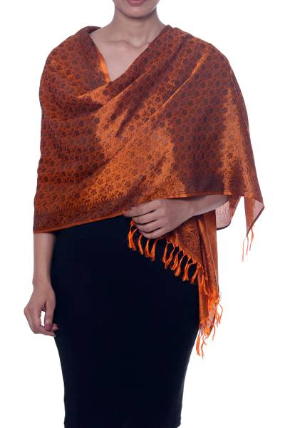 Silk scarf, 'Paisley Delicacy in Tangerine' - Paisley Motif Silk Wrap Scarf in Tangerine from India
