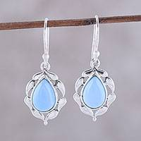 Chalcedony dangle earrings, 'Circled by Paisleys' - Paisley Motif Chalcedony Dangle Earrings from India