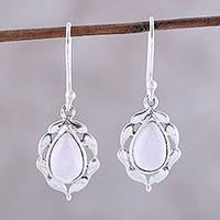Rose quartz dangle earrings, 'Circled by Paisleys' - Paisley Motif Rose Quartz Dangle Earrings from India