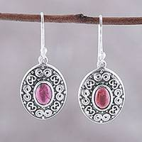 Garnet dangle earrings, 'Swirling Ellipse' - Swirl Motif Oval Garnet Dangle Earrings from India