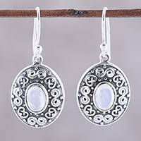 Rainbow moonstone dangle earrings, 'Swirling Ellipse' - Swirl Motif Rainbow Moonstone Dangle Earrings from India